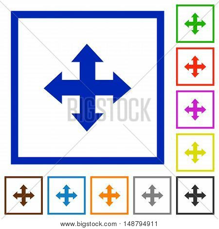 Set of color square framed move arrows flat icons