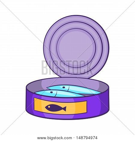 Canned sprats icon in cartoon style isolated on white background vector illustration