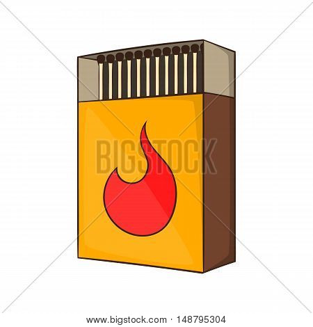 Box of matches icon in cartoon style isolated on white background vector illustration