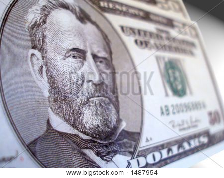 50 Dollar Us Bill Close-Up