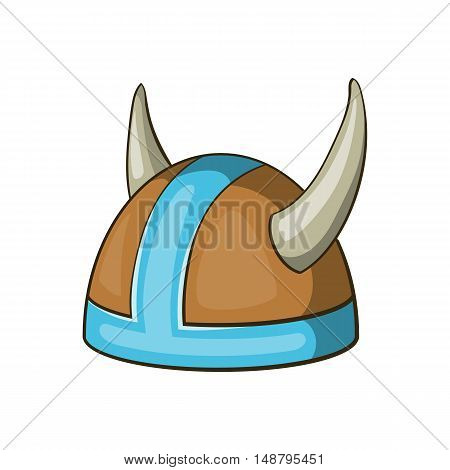 Swedish viking helmet icon in cartoon style isolated on white background vector illustration
