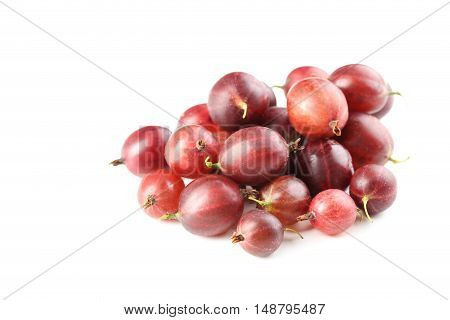 Gooseberries fruit isolated on a white, close up