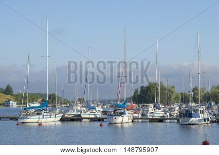 LAPPEENRANTA, FINLAND - AUGUST 09, 2015: Early august morning in the harbour of Lappeenranta. Tourist landmark of the city Lappeenranta, Finland
