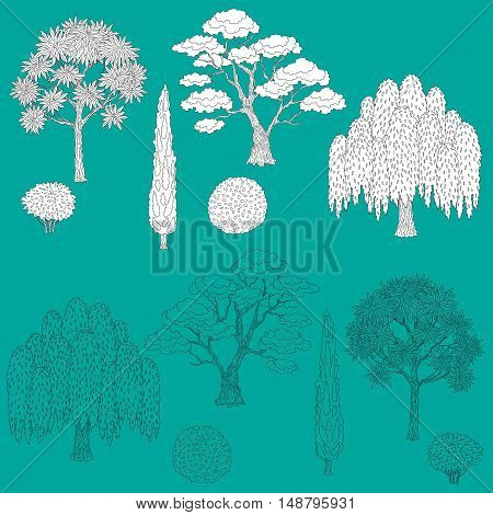 Hand drawn set of outlines trees and bushes. Black and white and contoured shapes isolated on turquoise background. Elements for coloring.