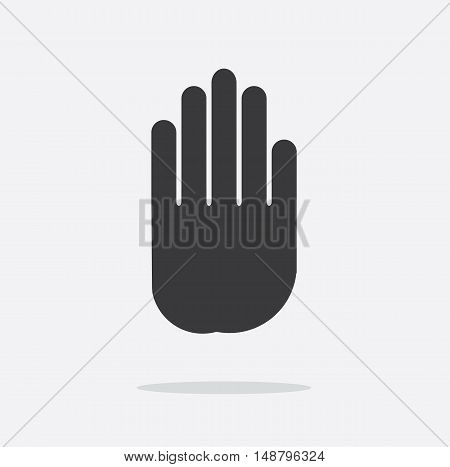 Vector illustration of stop signal sign with hand.