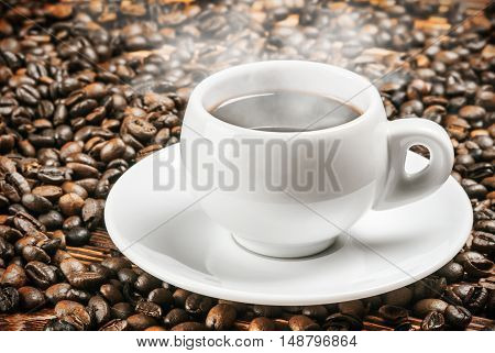 Roasted Coffee cup and coffee beans. focus on the upper edge of the cup