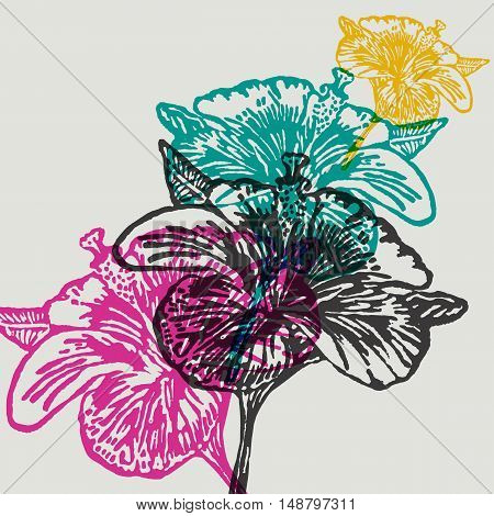 Linocut Hibiscus Flower on background. Vector Illustrated Hibiscus Flowers.