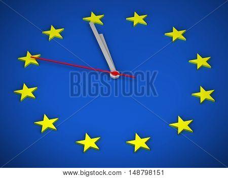 European Union Clock 3D concept time economic euroclock