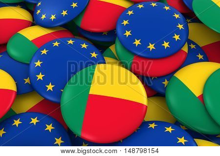 Benin And Europe Badges Background - Pile Of Beninese And European Flag Buttons 3D Illustration