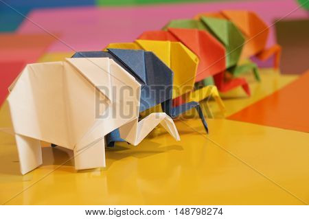 Origami elephant out of paper
