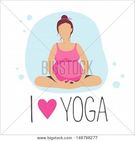 Pregnant woman doing exercise. Yoga positions in batterfly or lotus Pose. Vector illustration