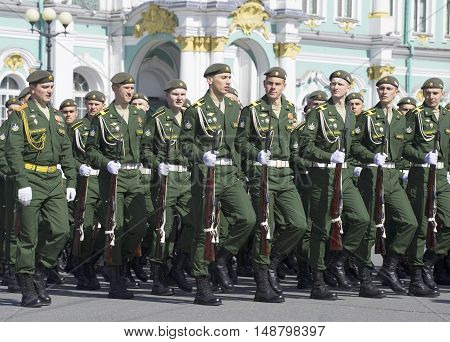 SAINT PETERSBURG, RUSSIA - MAY 05, 2015: Cadets on parade rehearsal in honor of Victory day. Historical landmark of the Saint Petersburg
