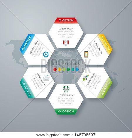 Vector illustration infographics six options. Stock vector