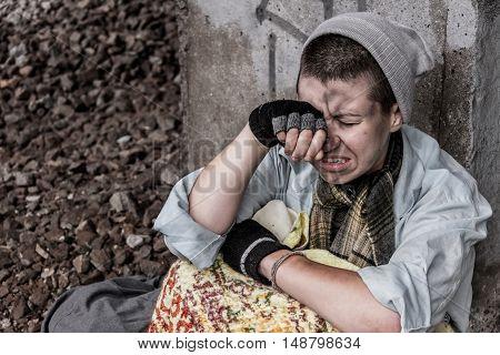 Homeless Desperate Woman