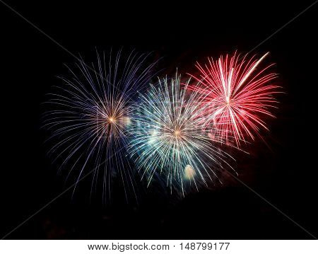Golden red fireworks explosion isolated in dark sky background, Malta fireworks festival, 4 of July, Independence day, explode, fireworks in dark background close up with the space for text,New Year