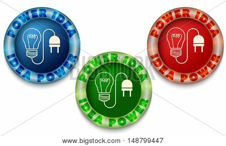 Three icons with color back light and power symbol