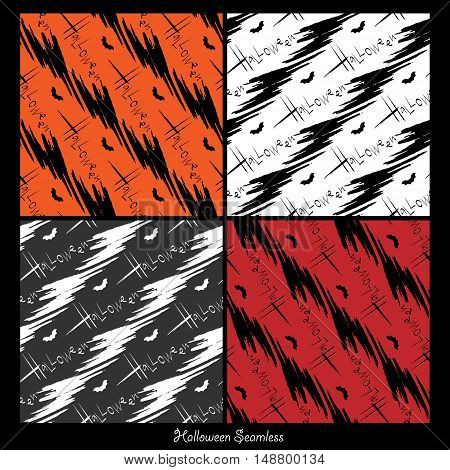 Set of halloween vector backgrounds. Collection of seamless patterns for Halloween eve. Vector illustration. Eps10
