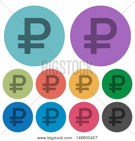 Color Ruble sign flat icon set on round background.