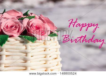 birthday card (half cake with sugar roses)
