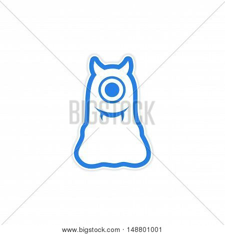 sticker cyclops monster with horns on a white background