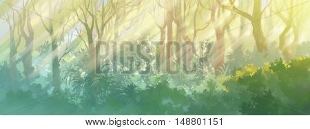 sunrise in the morning forest painting illustration