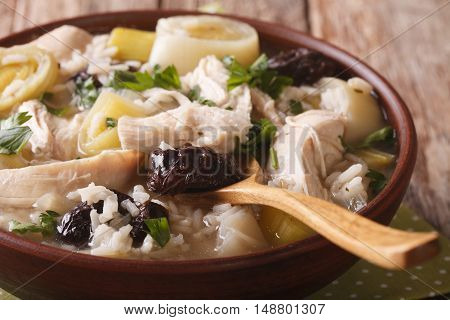 Scottish Chicken Soup With Leeks And Prunes Macro. Horizontal