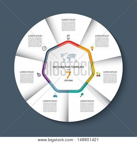 Vector infographic circle template. White round banner with 7 steps or options. Business concept with the set of marketing icons and design elements. Can be used for cycle diagram, pie chart, graph