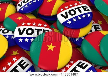 Cameroon Elections Concept - Cameroonian Flag And Vote Badges 3D Illustration