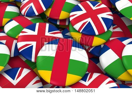 Central African Republic And Uk Badges Background - Pile Of Central African And British Flag Buttons