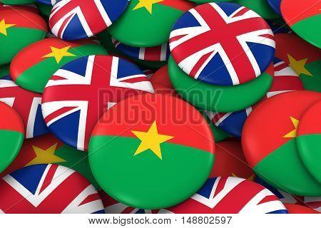 Burkina Faso And Uk Badges Background - Pile Of Burkinabe And British Flag Buttons 3D Illustration