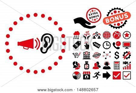 Advertisement icon with bonus symbols. Vector illustration style is flat iconic bicolor symbols, intensive red and black colors, white background.