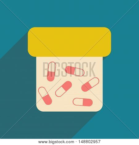 Flat with shadow icon and mobile application bottle of pills