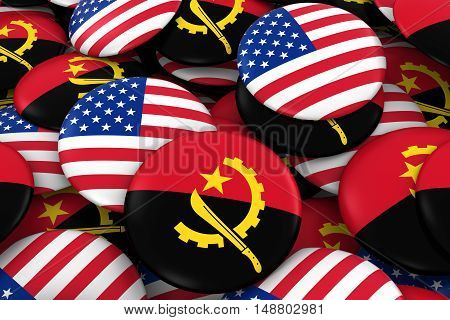 Usa And Angola Badges Background - Pile Of American And Angolan Flag Buttons 3D Illustration