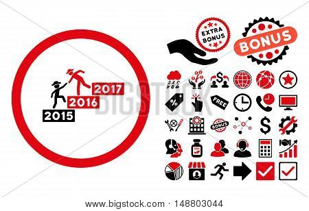 Annual Gentleman Help pictograph with bonus design elements. Vector illustration style is flat iconic bicolor symbols, intensive red and black colors, white background.