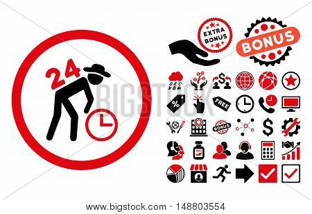 Around the Clock Work pictograph with bonus pictograph collection. Vector illustration style is flat iconic bicolor symbols, intensive red and black colors, white background.