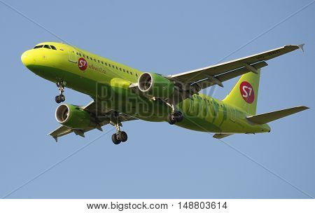SAINT PETERSBURG, RUSSIA - JULY 24, 2015: Airbus A320 (VQ-BRD) S7 - Siberia Airlines before landing in Pulkovo airport