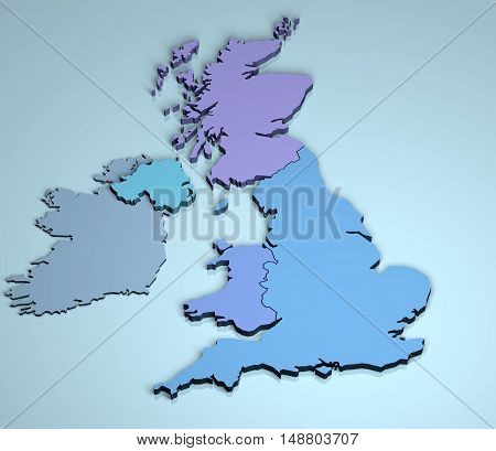 UK 3D United Kingdon England Scotland Wales Northern Ireland
