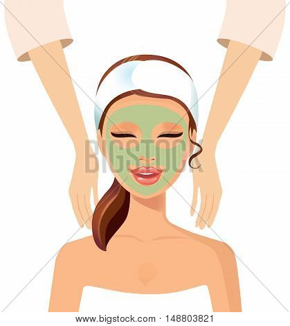 Stock vector illustration of a beautiful woman making a rejuvenating facial massage isolated on a white background. Spa.