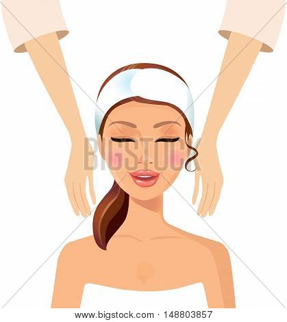 Spa illustration with girl having facial massage isolated on a white background. Vector.