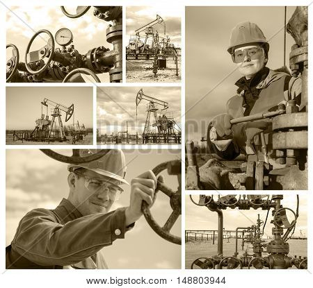 Collage consisting of pictures of oil rig wellhead man engineer near wellhead valve woman engineer repairing wellhead. Oil and gas concept. Toned.