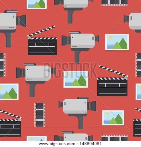 Movie seamless pattern.Camera, take, film, picture.Flat illustration