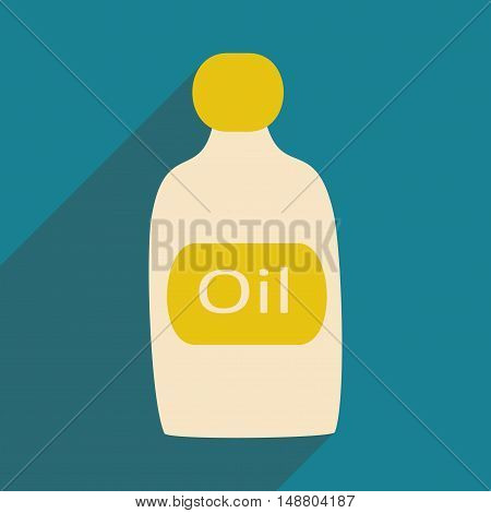 Flat with shadow icon and mobile application oil bottle
