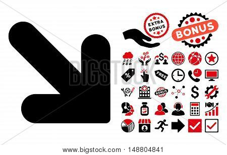 Arrow Down Right icon with bonus images. Vector illustration style is flat iconic bicolor symbols, intensive red and black colors, white background.
