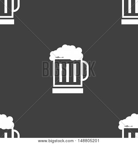 Beer Glass Icon Sign. Seamless Pattern On A Gray Background. Vector