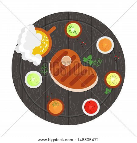 Steak grilled on a wooden tray with sauces and spices. Beer menu. Flat cartoon steak illustration. Objects isolated on a white background.