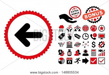 Arrow Left icon with bonus images. Vector illustration style is flat iconic bicolor symbols, intensive red and black colors, white background.
