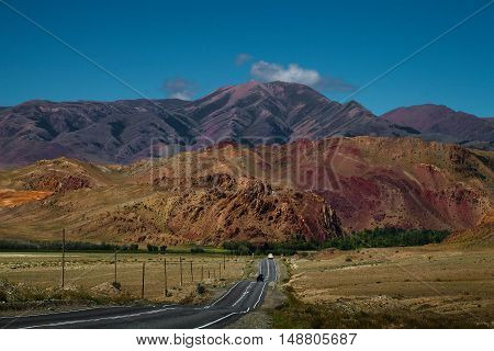 Straight Highway To The Colorful Mountains. Altay Region, Russia