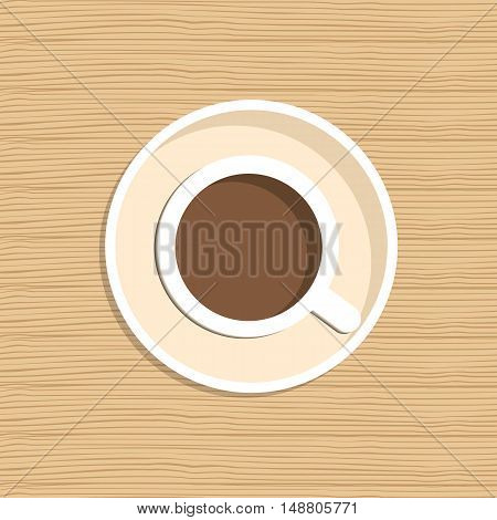 Top view of a cup of coffee. There is a cup of coffee on a wooden background. Vector illustration. It can be used for the websites, registration of magazines, booklets, leaflets