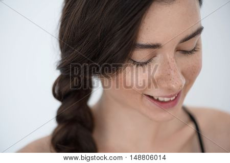 skin and hair care concept, face of a young relaxed girl