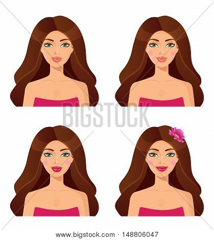 Set of woman portraits.Beauty. Set of girls faces. Beautiful brunette isolation on a white background. Portrait of young beautiful woman. Vector.
